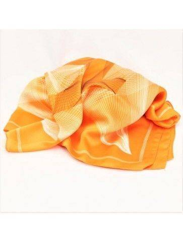 Esarfa batic portocaliu model stilizat subtire
